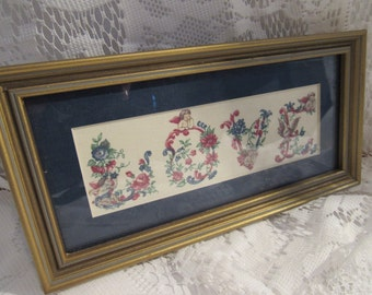 Vintage Framed Wall Art Love Fabric Wall Decor Shabby Chic
