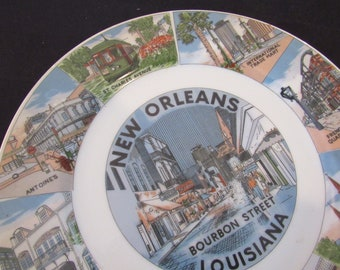 Vintage Collectible NOLA Souvenir Hanging Plate Saint Louis Cathedral New Orleans Bourbon Street French Quarter Attractions Made in Japan