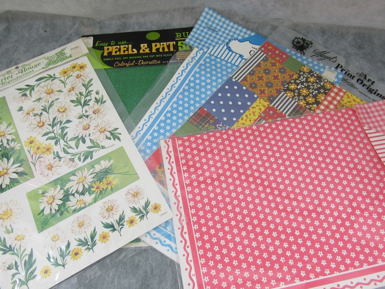 Vintage Mid century Craft Paper Gift Wrapping Card Making Journals Scrap Booking Crafting EACH Paper Ephemera Doll House Wall Paper