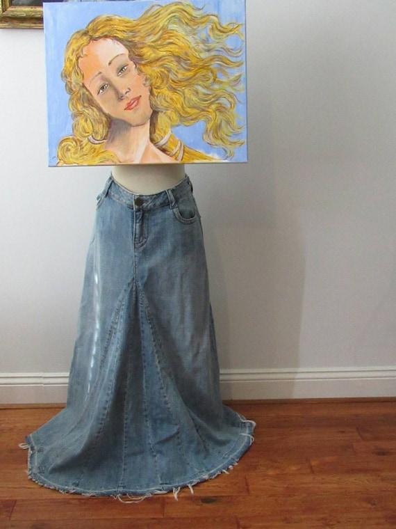 Vintage Maxi Denim Skirt Split Jeans Skirt Jean Sk