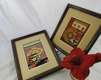 Vintage Woven Cross stitch Framed Fiber Arts Southwestern Native American Style set of 2