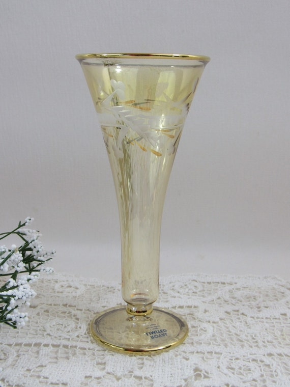Vintage Etched Crystal Vase Eygpt Yellow Footed Vase Flower