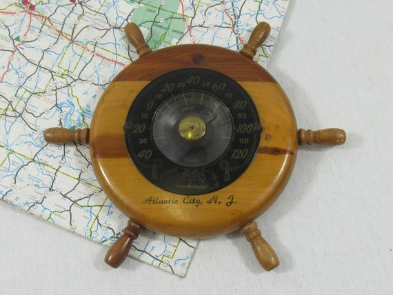 Vintage Thermometer Wooden Boat Anchor Souvenir Tennessee Art Deco design