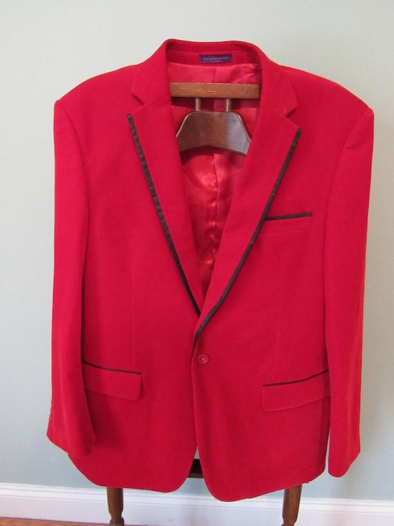 Vintage Italian Red Sports Coat Smoking Jacket Vel