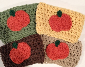 Handmade Crocheted Pick Your Color Coffee Cup Mug Sleeve Cozy for Fall, Halloween, and Thanksgiving with Pumpkin, Handmade by Mellon