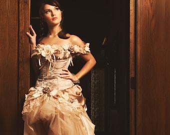 Custom Steampunk Wedding Dress Prom Dress Corset Dress Wedding Dress Ivory Beige Vintage Wedding Dress