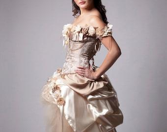 Custom Ivory Wedding Dress Prom Dress Evening Gown Beige Vintage