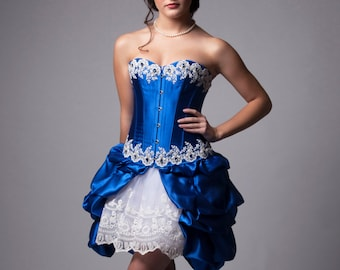 Custom Cinderella Blue and White Corset Dress Wedding Prom Bridesmaids Costume