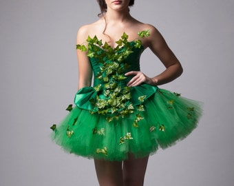 Custom Poison Ivy Green Dress Costume Prom Halloween Costume