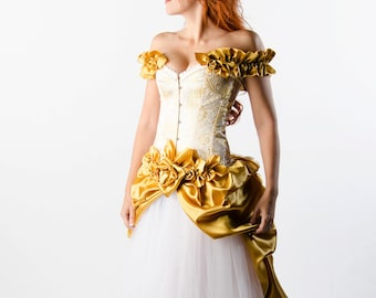 Custom White and Gold Wedding Gown Prom Costume Evening Gown