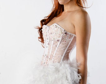 Custom Pink Crystal Jade Lace and Feathers Corset Burlesque Prom Dress Wedding Bridesmaids
