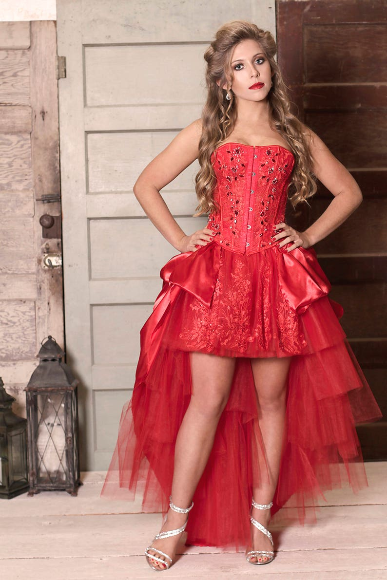 46873503346 Custom Red Lace Corset Gown Embellished Swarovski Crystals