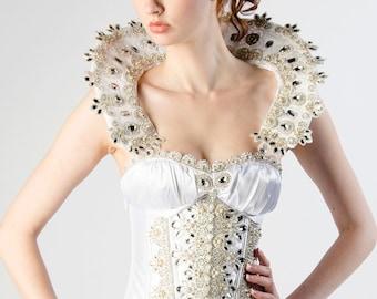 Custom Halloween Costume Snow Queen Crystal Corset Wedding Gown Costume Prom Dress Evening Gown
