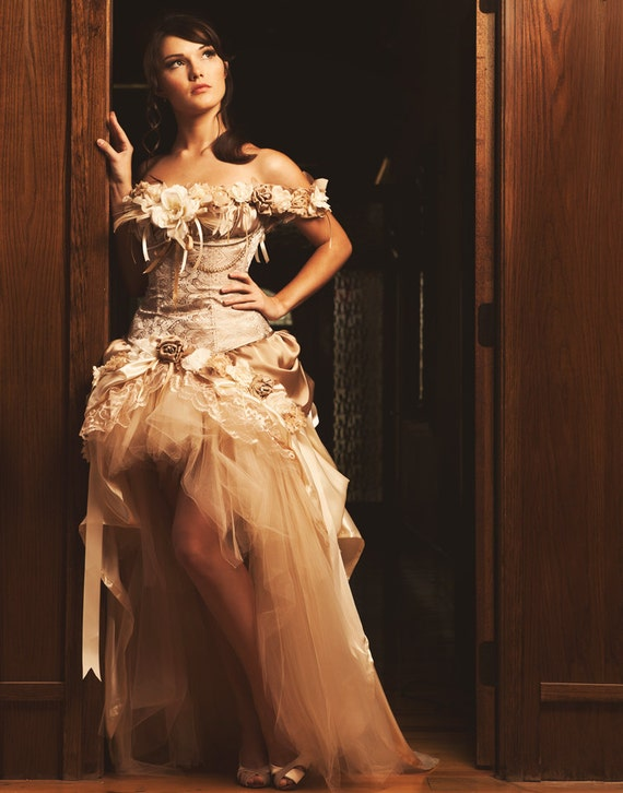 Vintage Style Wedding Dresses, Vintage Inspired Wedding Gowns  Custom Steampunk Wedding Dress Prom Dress Corset Dress Wedding Dress Ivory Beige Vintage Wedding Dress $1,500.00 AT vintagedancer.com