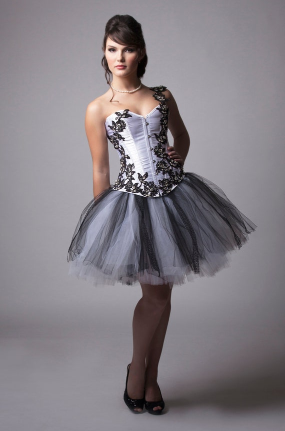 Custom White And Black Crystal Lace Corset Prom Dress Etsy