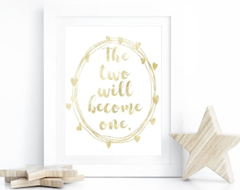 gold glitter wedding sign two become one christian wedding decor bridal shower gift bible verse wall art print scripture printable