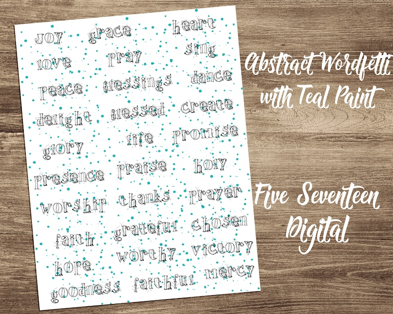 Bible Journaling Printable  Abstract Wordfetti with Teal image 0