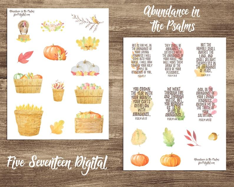 Bible Journaling Printable Kit  Thanksgiving Abundance in the image 0