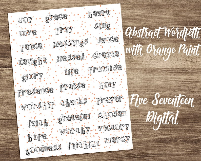 Bible Journaling Printable  Abstract Wordfetti with Orange image 0