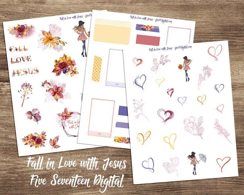 Bible Journaling Printable Kit  Fall in Love with Jesus  image 0
