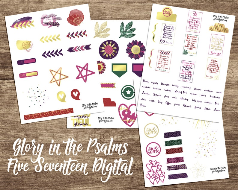 Bible Journaling Printable Kit, Glory in the Psalms, Faith Planner  Stickers, Scripture Journal, Journaling PDF, Goodnotes PNG, Bible Art