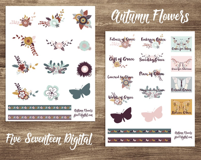 Bible Journaling Printable Kit  Autumn Colored Flowers and image 0