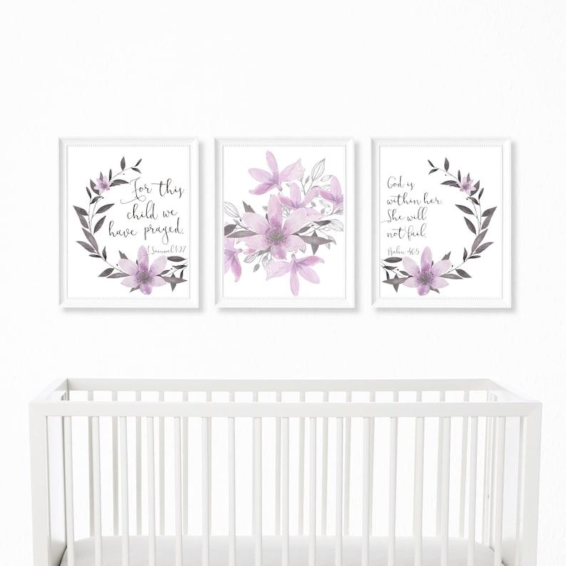 a7e01d76d520c Christian Nursery Decor Printable, Psalm 46:5 Print, Baby Girl Nursery  Decor, Purple Gray Wall Art, Bible Verse Nursery Quote, Shower Gift