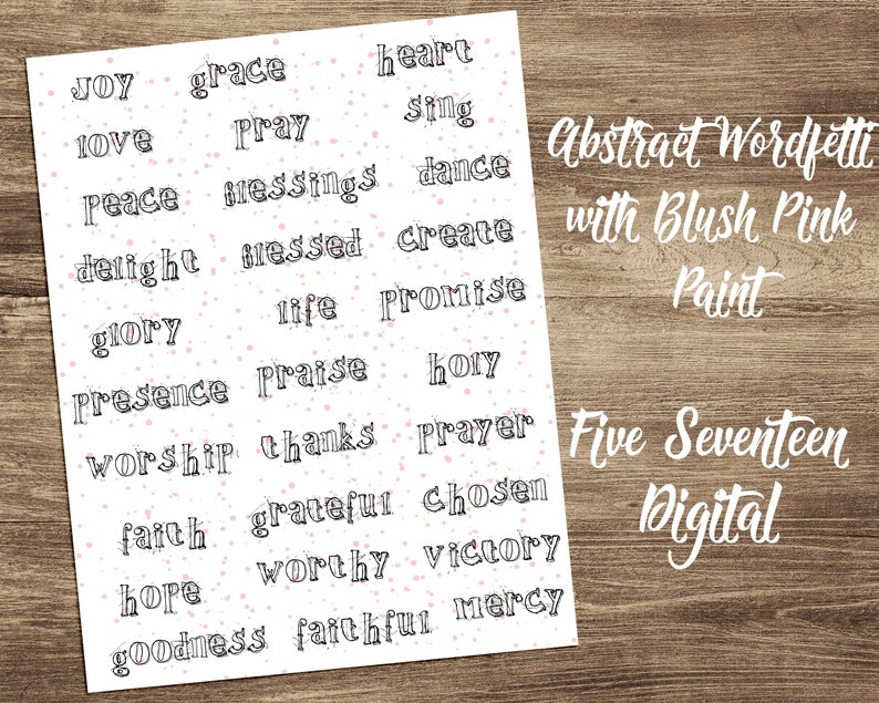 Bible Journaling Printable  Abstract Wordfetti with Blush image 0