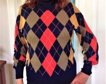 Escada Sweater, Argyle Sweater, Escada by Margaretha Ley, Designer Sweater, Turtleneck Sweater, Pullover, Escada, Angora Wool, SALE