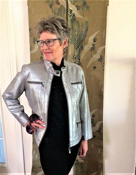 Leather Jacket, Silver Jacket, Metallic Leather Co