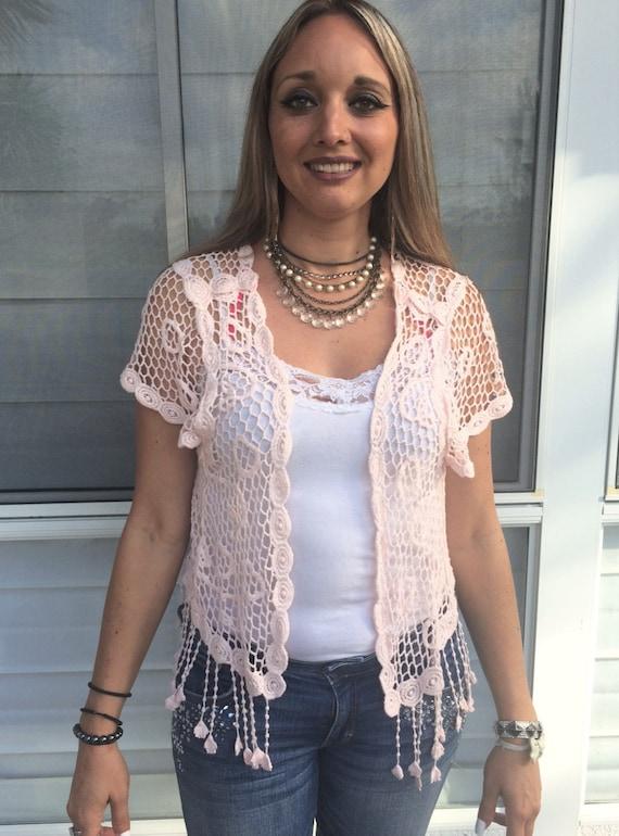 Pink Crochet Top, Hand Crochet Top, Heart Shape To