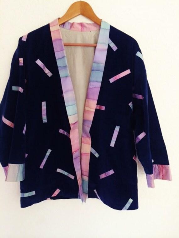Ultra Suede Jacket, Blue Velvet Jacket, Silk Decor