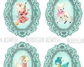 Kitsch cute plush animal pretty vintage tags Digital Printable Display Cards Collage Sheet