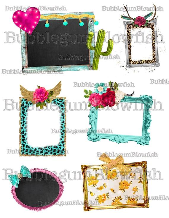 Funky Cheetah Print Frames cactus wings crowns antlers marquee | Etsy