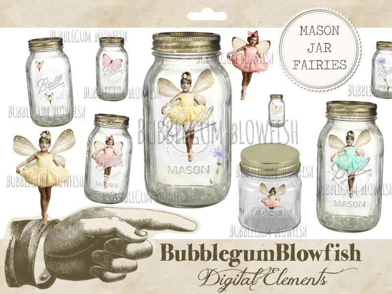 Mason Jar Fairies Digital Graphic Design Elements Png Etsy