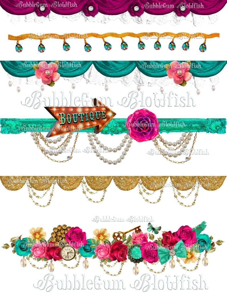 GoRgEoUs jeweled whimsical borders  edges dividers Digital Clip Art on a single file collage sheet dividers are NOT individually seperated