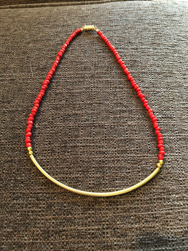 Coral Seed Beads Chocker with Gold Connector and Magnetic Clasp