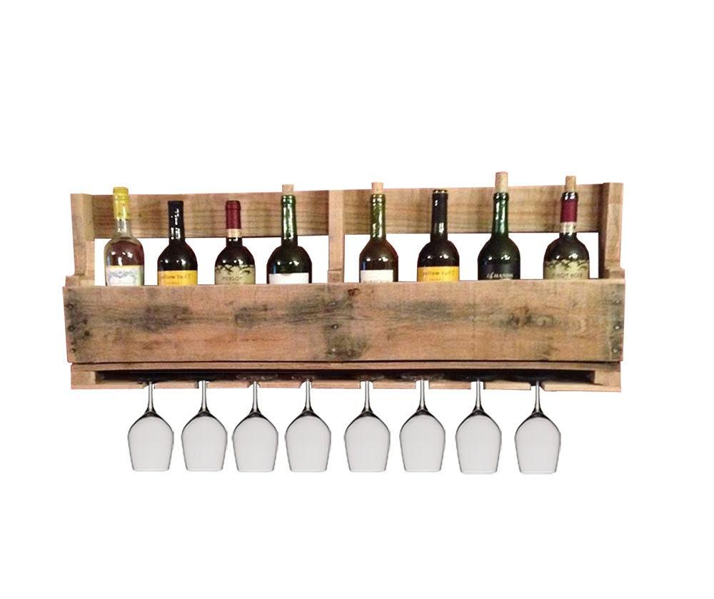 wood pallet wine rack holds wine bottles and wine glasses. Black Bedroom Furniture Sets. Home Design Ideas