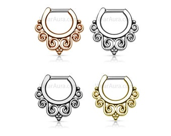 Tribal Swirls Septum Clicker - Surgical Steel Body Jewelry, Septum Ring, Nose Jewelry, Body Jewelry, Listing is for 1 Piece