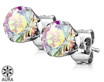 A Pair Of Aurora Borealis Iridescent Round Crystal Earrings