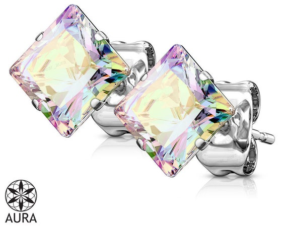Aurora Borealis Iridescent Crystal Square Shape Earrings (Pair) 316L Stainless Steel