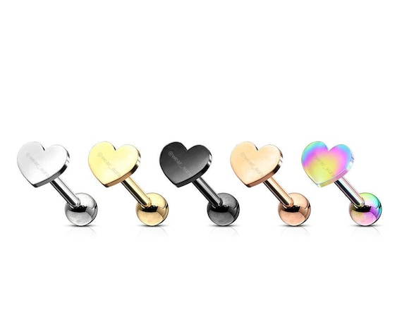 Flat Heart Top Cartilage, Tragus Barbell Studs 316L Surgical Steel  5 Color Options (1 piece)