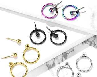 A Pair Of Hollow Ball with Hoop Back Earrings in 4 colors! Gold, Black, Steel, & Rainbow! Stylish dangle earrings Unisex For Him or For Her