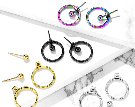 Hollow Ball with Hoop Back Earrings in 4 colors! Gold, Black, Steel, & Rainbow! Stylish dangle earrings new trends fashion jewelry