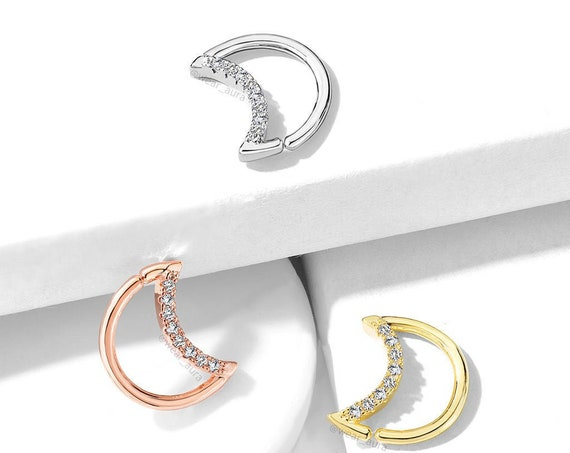 Crystal Lined Crescent Moon Shaped Ear Cartilage Daith Hoop Rings 16GA  18GA  Witchy Moonchild Crystal Moon Rose Gold Celestial Body Jewelry