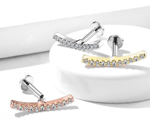 Crystal Curved Line or Labret, Monroe, Cartilage, Medusa, and more! Cubic Zirconia, Rose Gold, Gold, Steel, Internally Threaded