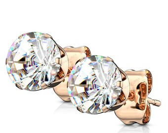 A Pair Of Clear CZ Crystal Rose Gold Earrings