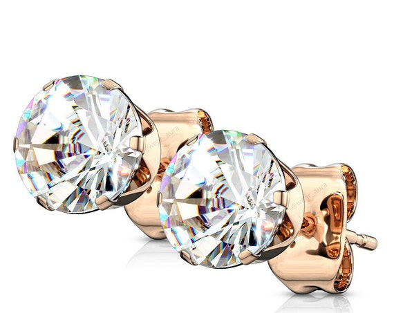 Clear CZ Crystal Rose Gold Earrings (Pair)