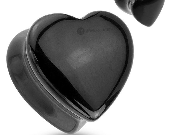 Heart Shaped Black Onyx Natural Stone Saddle Plugs (Pair)