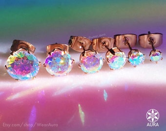 A Pair Of Aurora Borealis Iridescent Round Crystal Rose Gold Earrings